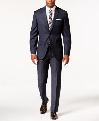 Bar III Men's Slim-Fit Navy and Tan Windowpane Suit Separates, Only at Vogily