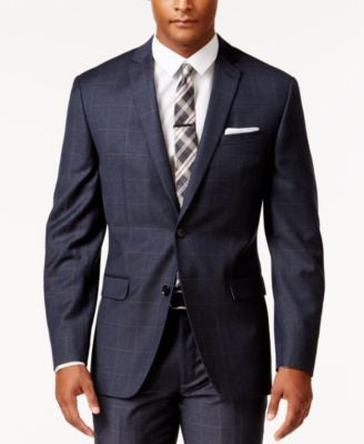 Bar III Men's Slim-Fit Navy and Tan Windowpane Jacket, Only at Vogily