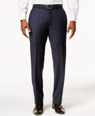 Bar III Men's Slim-Fit Navy and Tan Windowpane Dress Pants, Only at Vogily