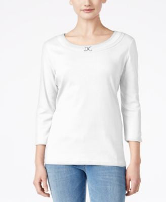 Karen Scott Petite Buckle-Detail Top, Only at Vogily