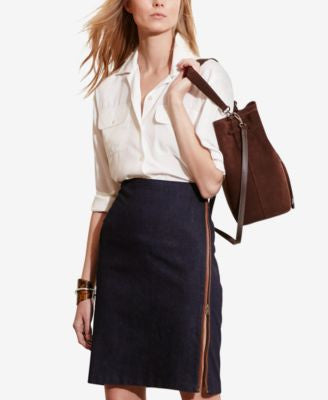 Lauren Ralph Lauren Zip-Front Stretch Skirt