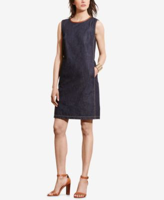 Lauren Ralph Lauren Leather-Trim Denim Dress