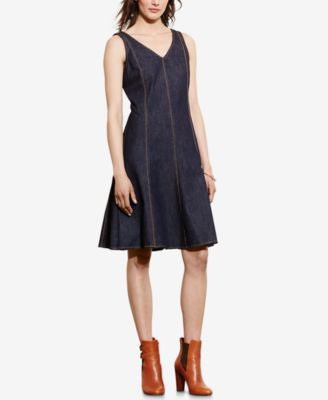 Lauren Ralph Lauren Paneled Denim V-Neck Dress