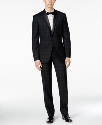 Bar III Men's Slim-Fit Blackwatch Plaid Tuxedo Separates, Only at Vogily