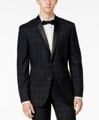 Bar III Men's Slim-Fit Blackwatch Plaid Tuxedo Jacket, Only at Vogily