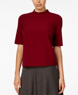 kensie Short-Sleeve Mock-Turtleneck Top