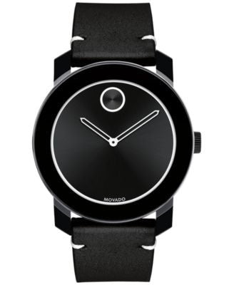 Movado Men's Swiss Bold Black Leather Strap Watch 42mm 3600385