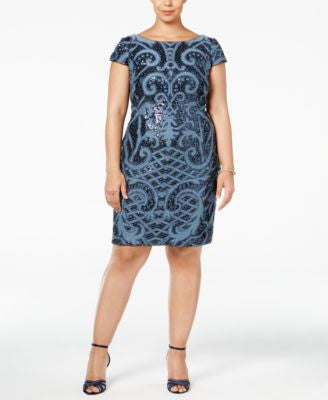 Adrianna Papell Plus Size Sequined Scoop-Back Dress