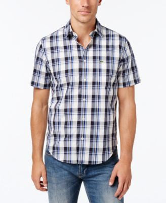 Lacoste Men's Poplin Plaid Short-Sleeve Shirt