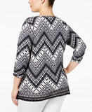 NY Collection Plus Size Lace-Trim Chevron-Print Top
