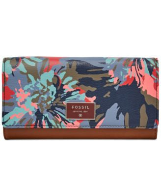 Fossil Ellis Floral Leather Clutch Wallet