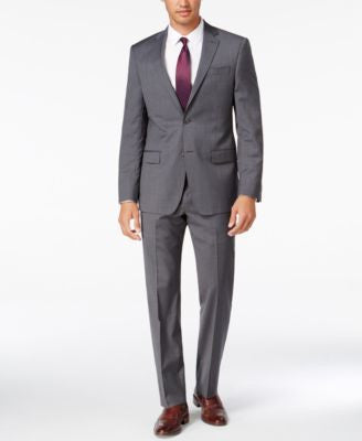DKNY Men's Slim-Fit Gray Mini-Check Suit