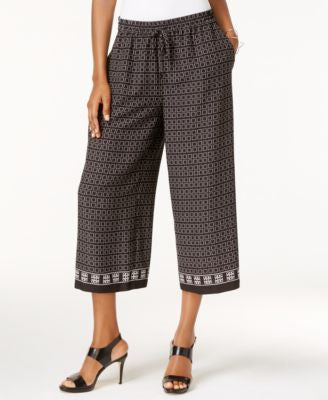 Vince Camuto Printed Cropped Wide-Leg Pants