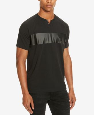 Kenneth Cole Reaction Men's Mixed-Media Faux Leather Trim Henley