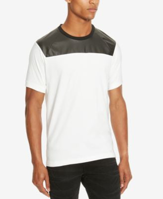 Kenneth Cole Reaction Men's Mixed-Media Faux Leather Trim T-Shirt