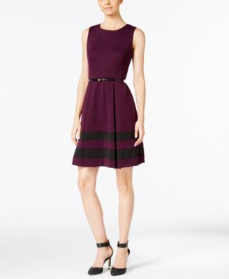 Calvin Klein Belted Colorblocked Fit & Flare Dress