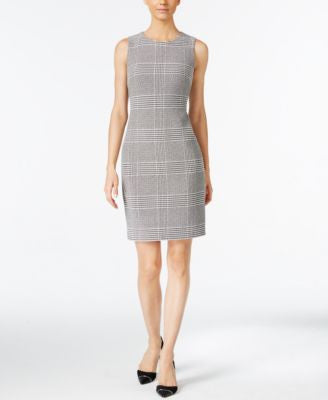 Calvin Klein Petite Checked Sheath Dress