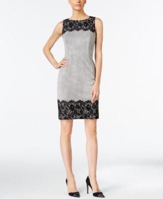 Calvin Klein Petite Faux-Suede Lace-Trim Sheath Dress