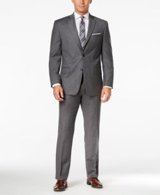 MICHAEL Michael Kors Men's Classic-Fit Gray Solid Flannel Suit
