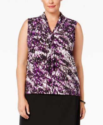 Tahari ASL Plus Size Printed Tie-Neck Blouse