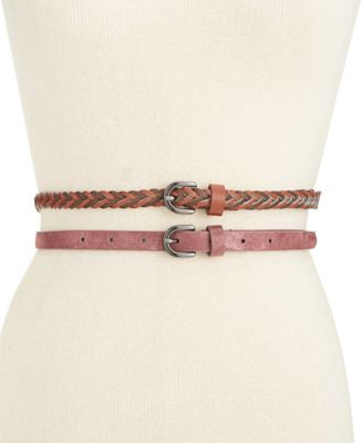 Style & Co. 2-for-1 Braided and Shimmer Skinny Belts, Only at Vogily