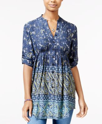 American Rag Printed Pintucked Blouse, Only at Vogily