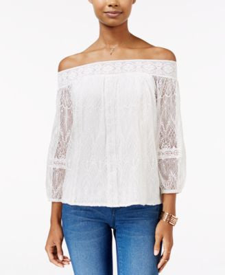 American Rag Off-The-Shoulder Lace Top, Only at Vogily