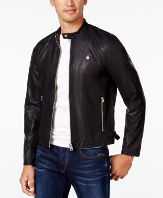 GStar Men's Faux-Leather Aviator Jacket