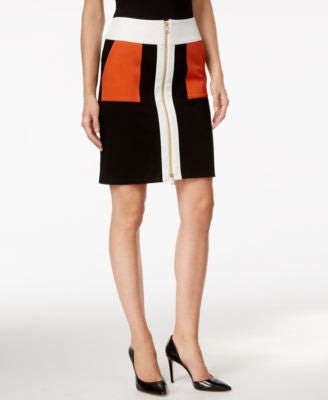 INC International Concepts Colorblocked Zip-Front Pencil Skirt, Only at Vogily