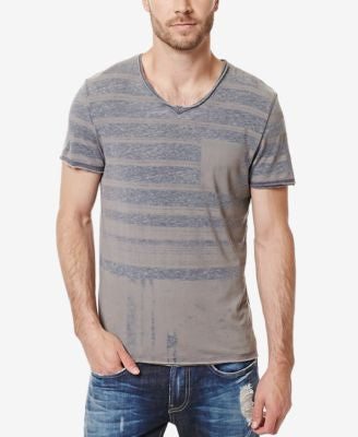 Buffalo David Bitton Men's Kaburn Stripe Graphic-Print V-Neck T-Shirt