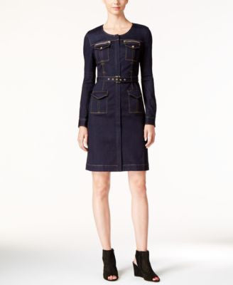 INC International Concepts Petite Zip-Front Denim Dress, Only at Vogily