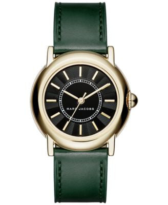 Marc Jacobs Women's Courtney Dark Green Leather Strap Watch 34mm MJ1490