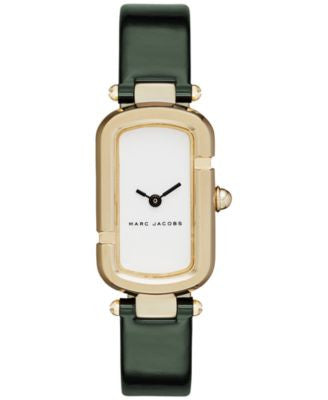 Marc Jacobs Women's North-South Dark Green Patent Leather Strap Watch 20x31mm MJ1485