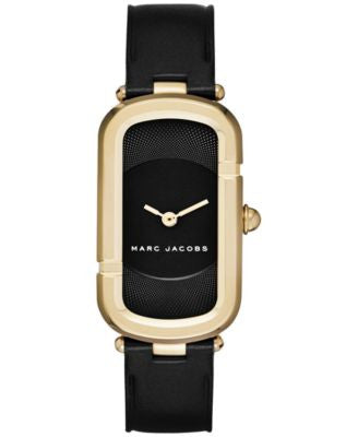 Marc Jacobs Women's North-South Black Leather Strap Watch 23x39mm MJ1484