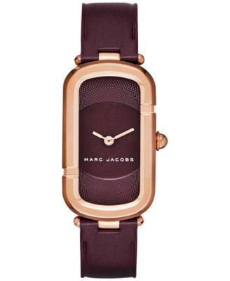 Marc Jacobs Women's North-South Oxblood Leather Strap Watch 23x39mm MJ1483