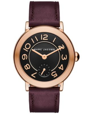 Marc Jacobs Women's Riley Oxblood Leather Strap Watch 36mm MJ1470