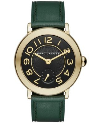 Marc Jacobs Women's Riley Dark Green Leather Strap Watch 36mm MJ1469