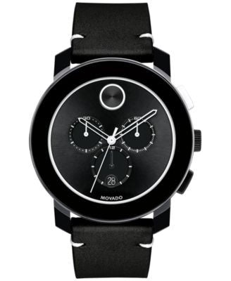 Movado Men's Swiss Chronograph Bold Black Leather Strap Watch 42mm 3600386