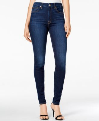 7 For All Mankind The High Waist Buckingham Blue Wash Skinny Jeans