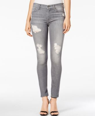 7 For All Mankind Ripped London Grey Skies Wash Ankle Skinny Jeans