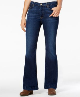 7 For All Mankind Tailorless Ginger Buckingham Blue Wash Flared Jeans