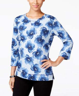 Karen Scott Petite Floral-Print Sweatshirt, Only at Vogily