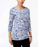 Karen Scott Petite Printed Sweatshirt, Only at Vogily