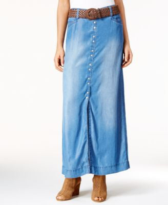 INC International Concepts Front-Slit Denim Maxi Skirt, Only at Vogily