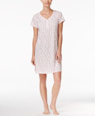 Charter Club Henley-Style Printed Sleepshirt, Only at Vogily