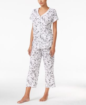 Charter Club Petite Loop-Trimmed Top and Cropped Pants Pajama Set, Only at Vogily