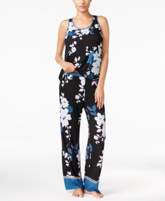 Alfani Contrast-Trimmed Knit Tank Top and Pants Pajama Set, Only at Vogily