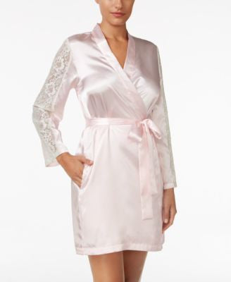 Thalia Sodi Lace-Sleeve Satin Wrap Robe, Only at Vogily