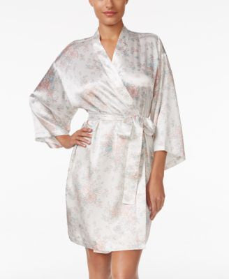Thalia Sodi Printed Satin Wrap Robe, Only at Vogily