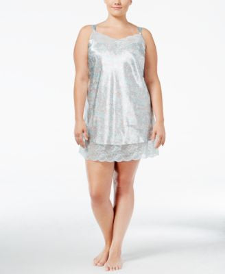 Thalia Sodi Plus Size Lace-Trimmed Satin Chemise, Only at Vogily